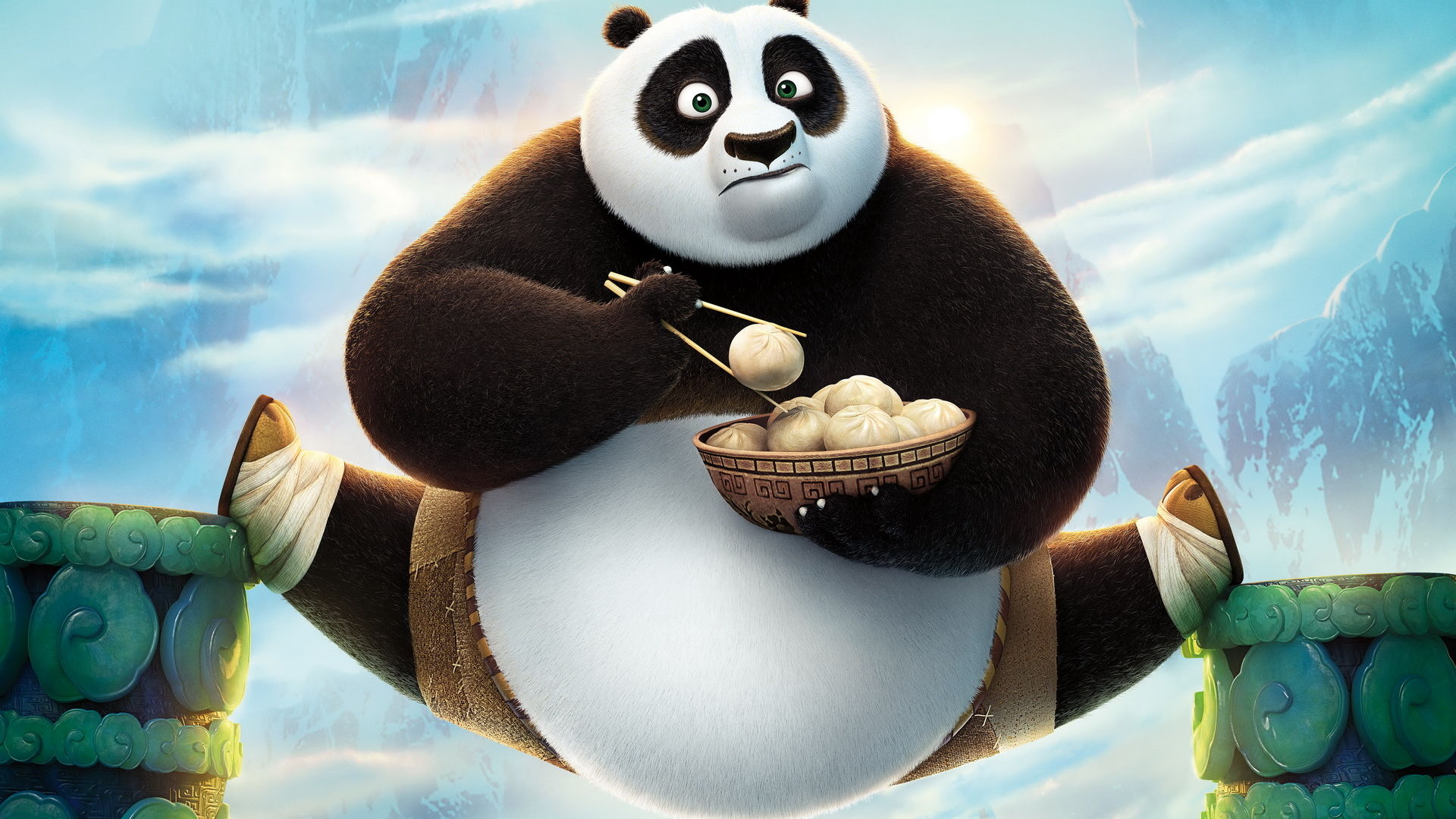 《功夫熊猫3》动漫卡通ppt背景图片下载