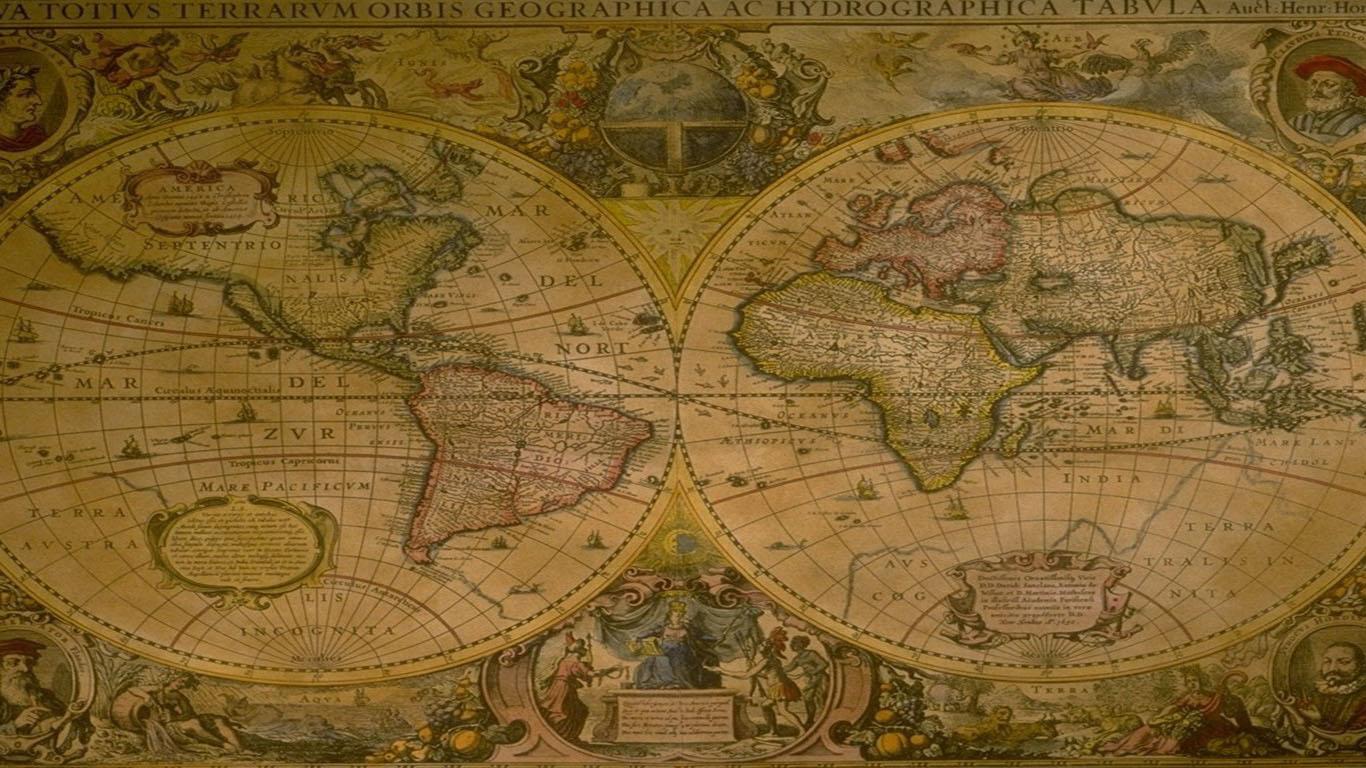 中世纪马可波罗游记地图ppt背景图片下载