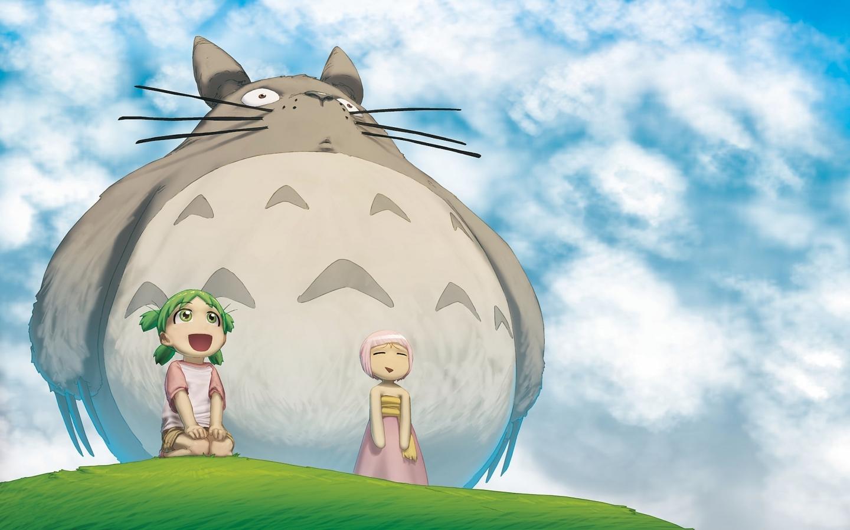 动漫龙猫插图可爱呆萌ppt背景图片下载