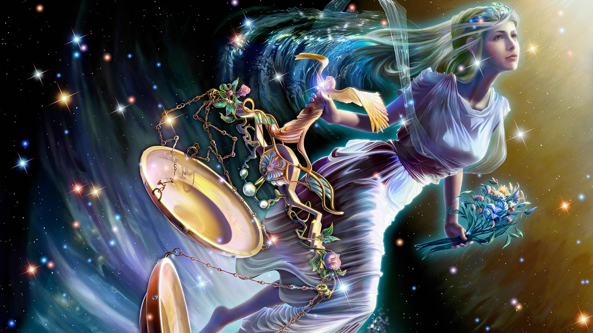 十二星座唯美意境图之天秤座ppt背景图片下载
