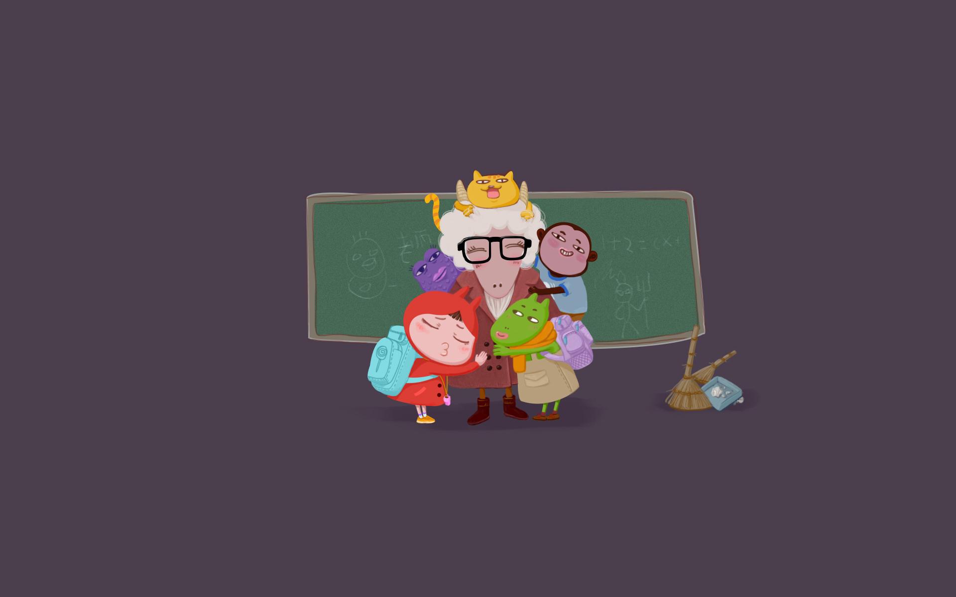 卡通教师节ppt背景图片下载