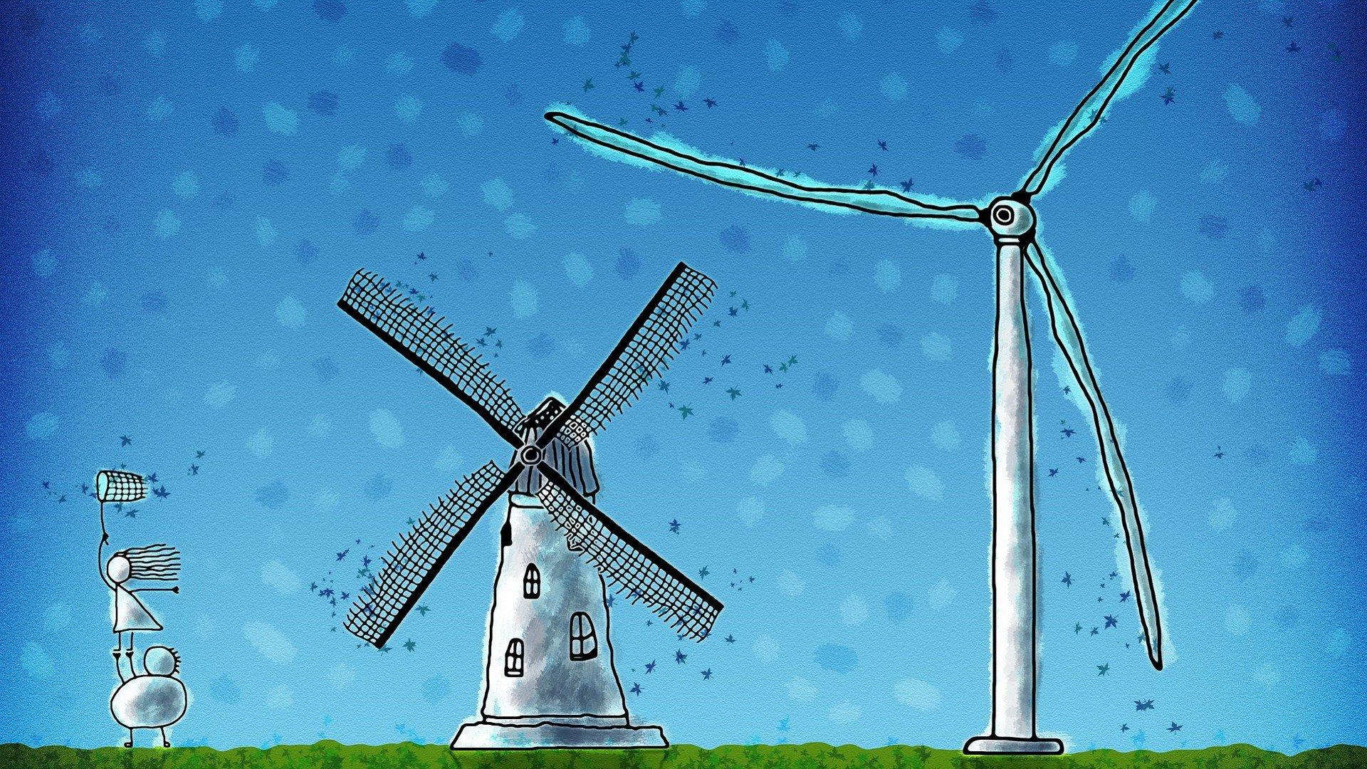 可爱小孩与风车童年手绘ppt背景图片下载