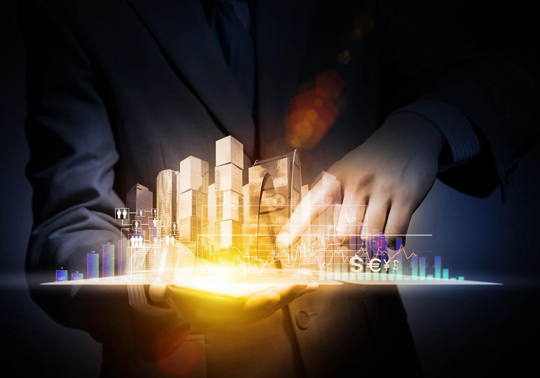 商务人士与商务信息图表高清ppt背景图片下载