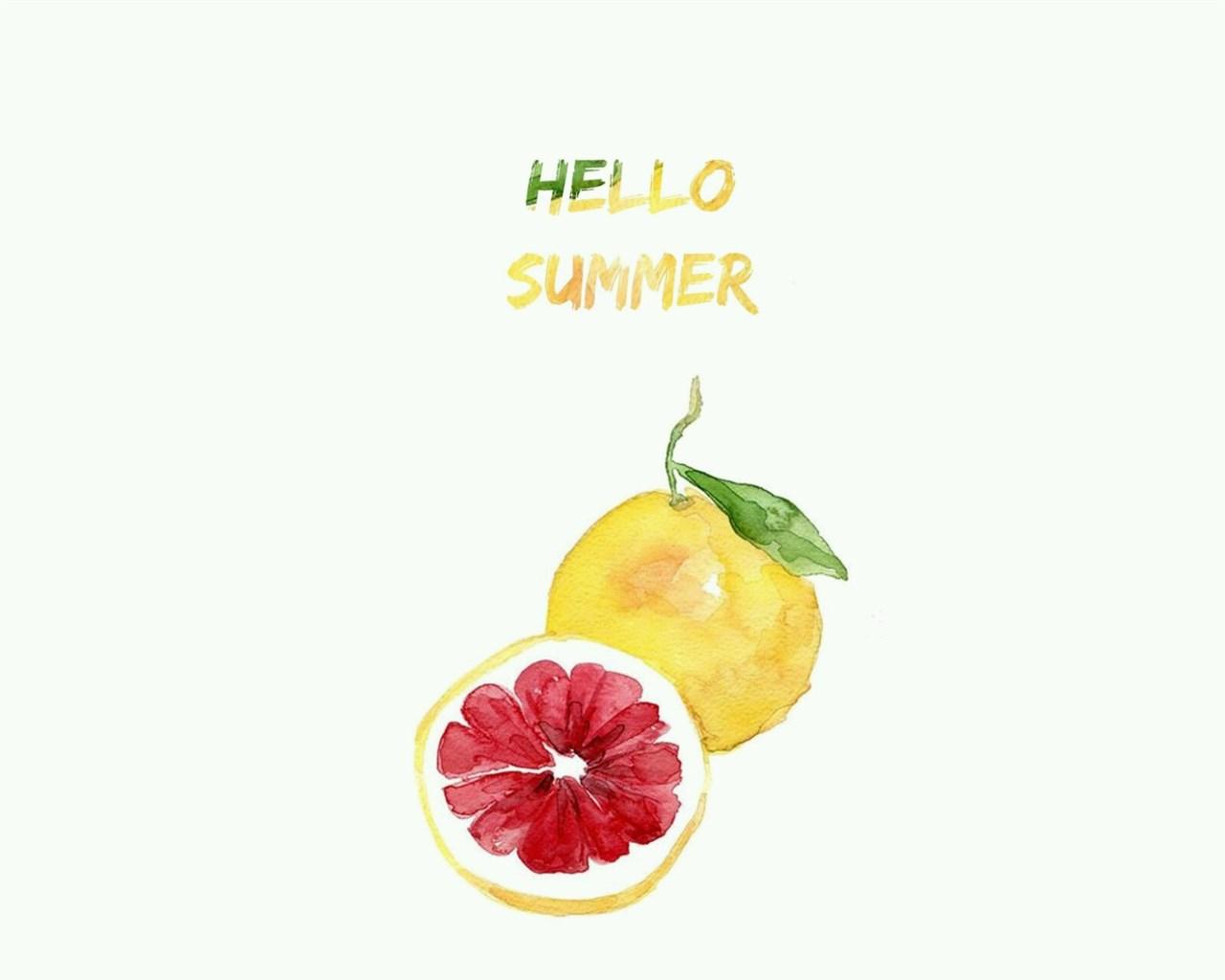 夏日水果小清新创意水墨绘画西柚ppt背景图片下载