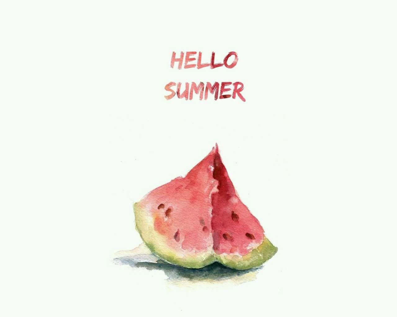 夏日水果小清新创意水墨绘画西瓜ppt背景图片下载