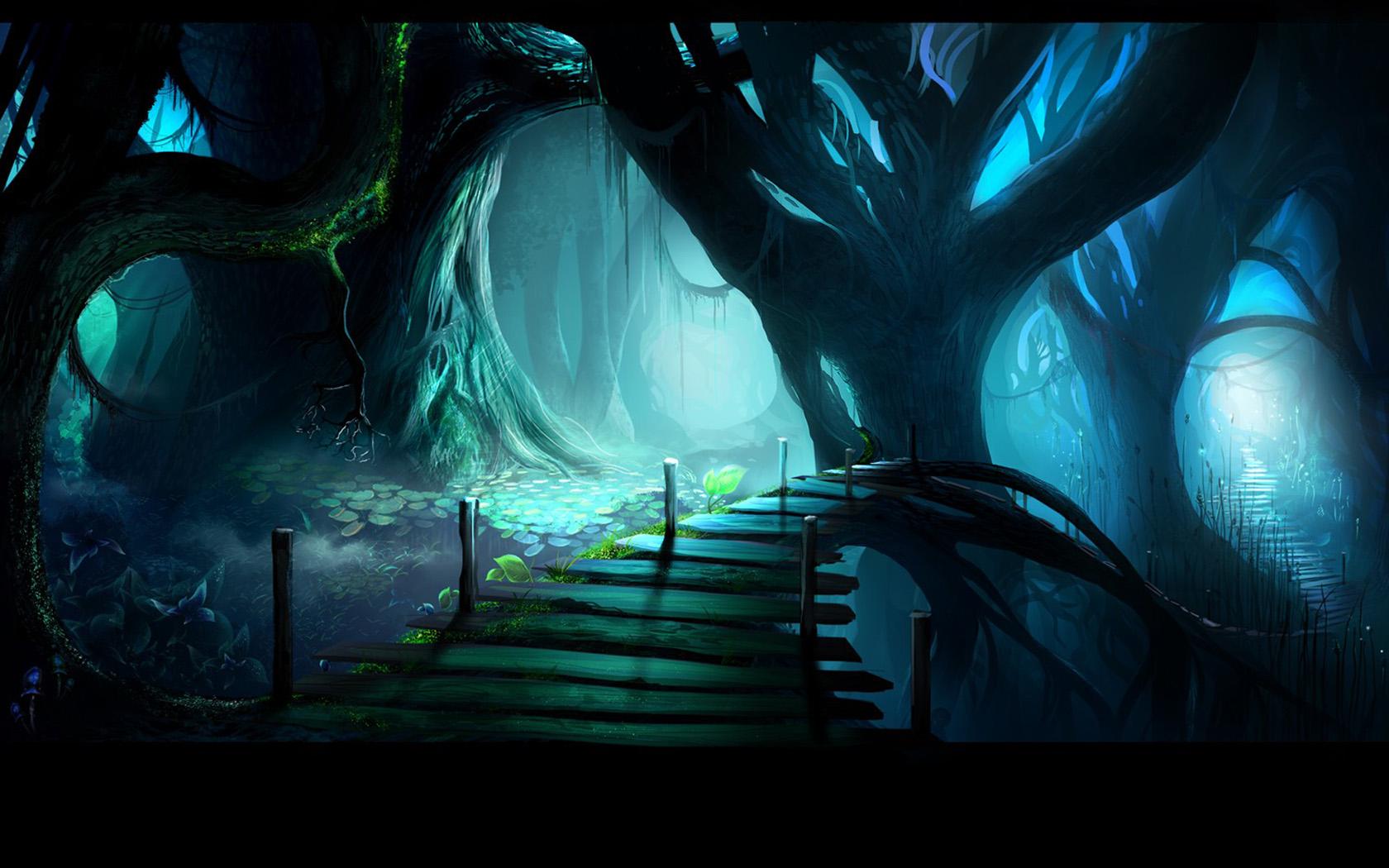 夜幕之神秘森林ppt背景图片下载图片