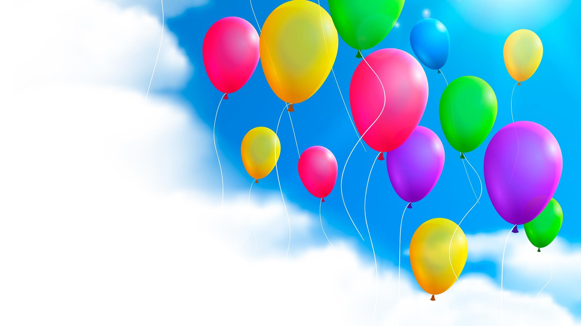 天空白云多彩气球ppt背景图片下载
