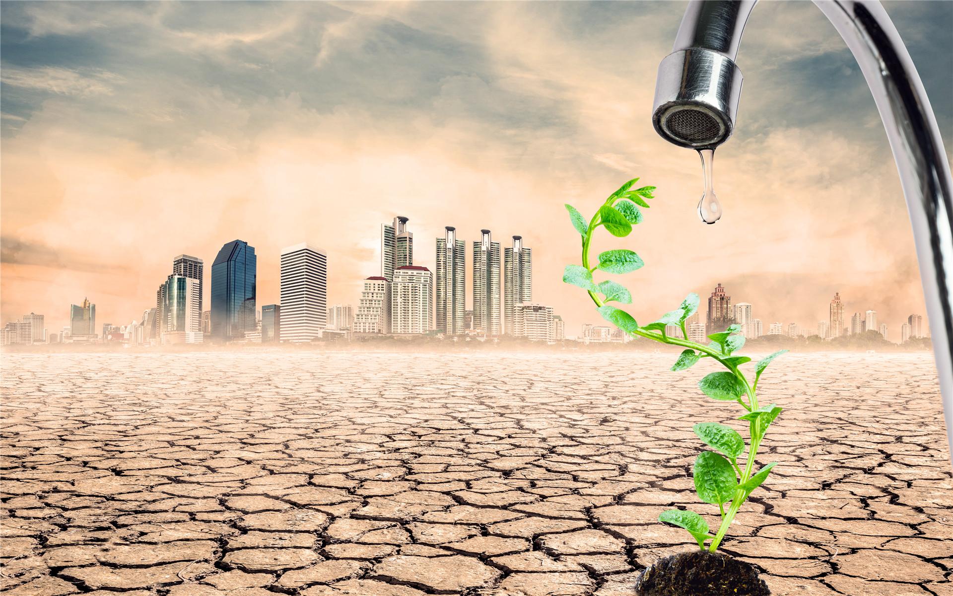 干旱土地呼吁节约用水ppt背景图片下载_幻灯片模板