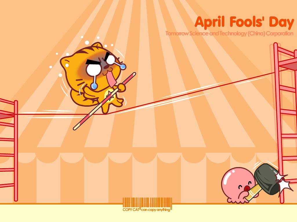 愚人节小猫卡通主题ppt背景图片下载