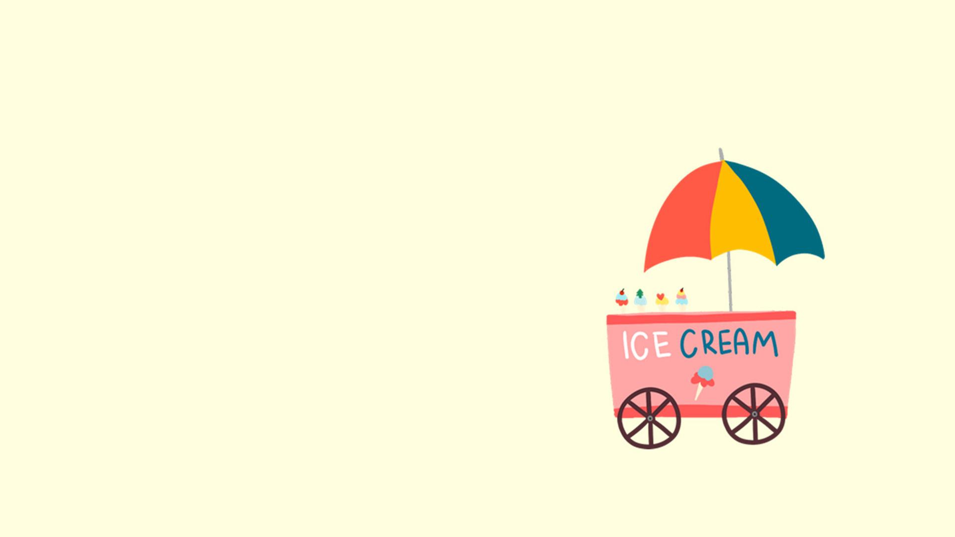 文艺小清新卡通纯色背景冰淇淋ppt背景图片下载
