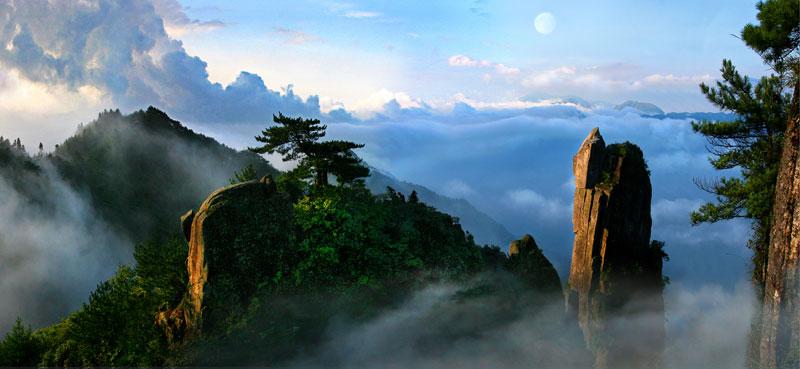 明月山国家森林ppt背景图片下载_幻灯片模板免费下载