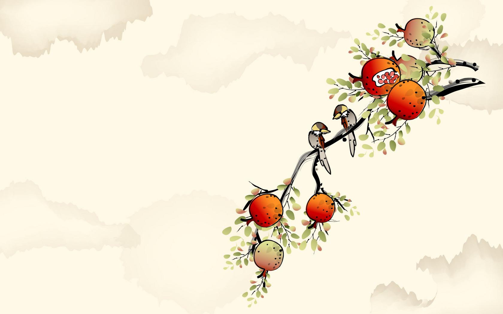 矢量植物花卉水墨画ppt背景图片下载