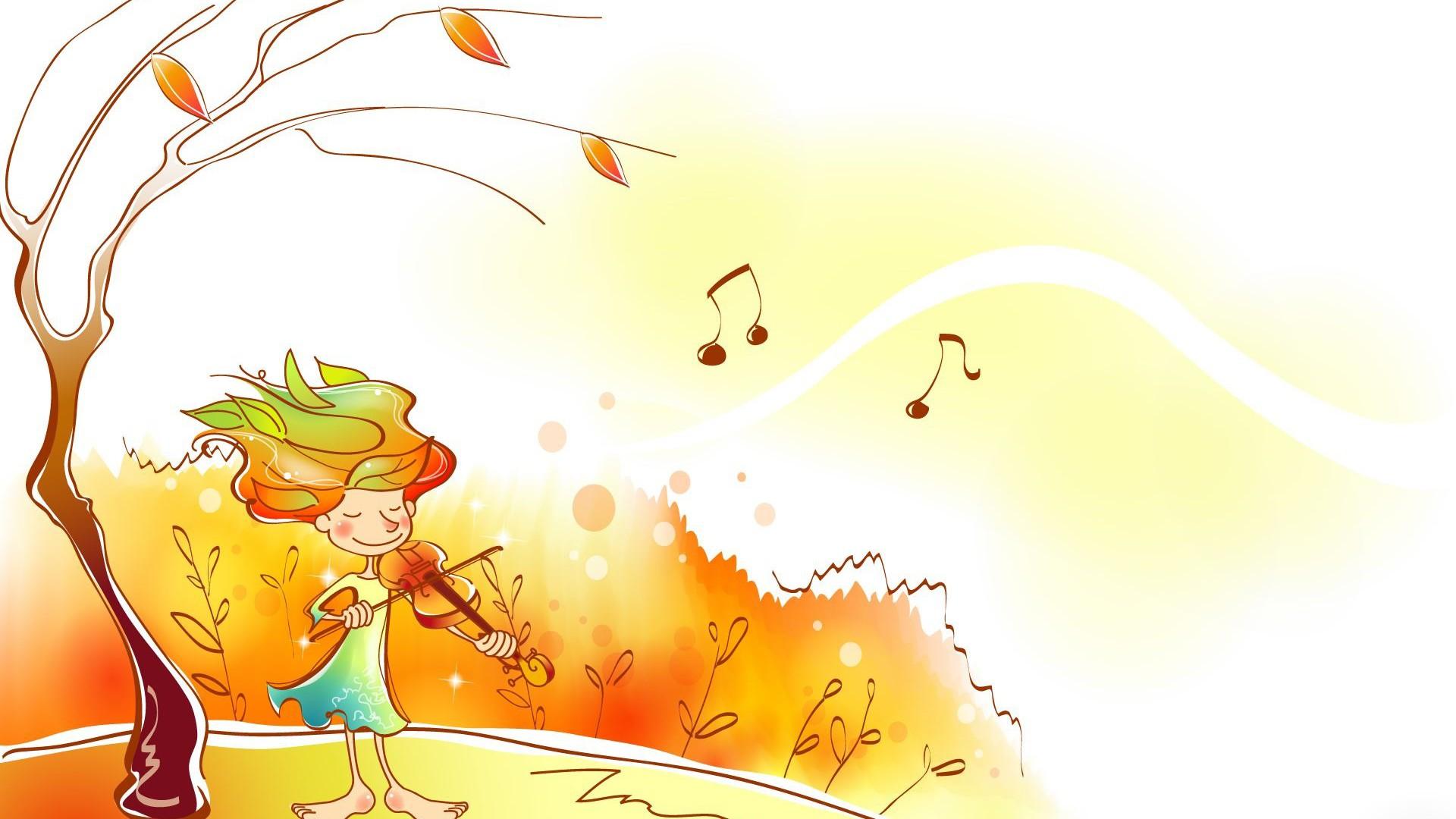 秋天卡通插画小提琴独奏ppt背景图片下载