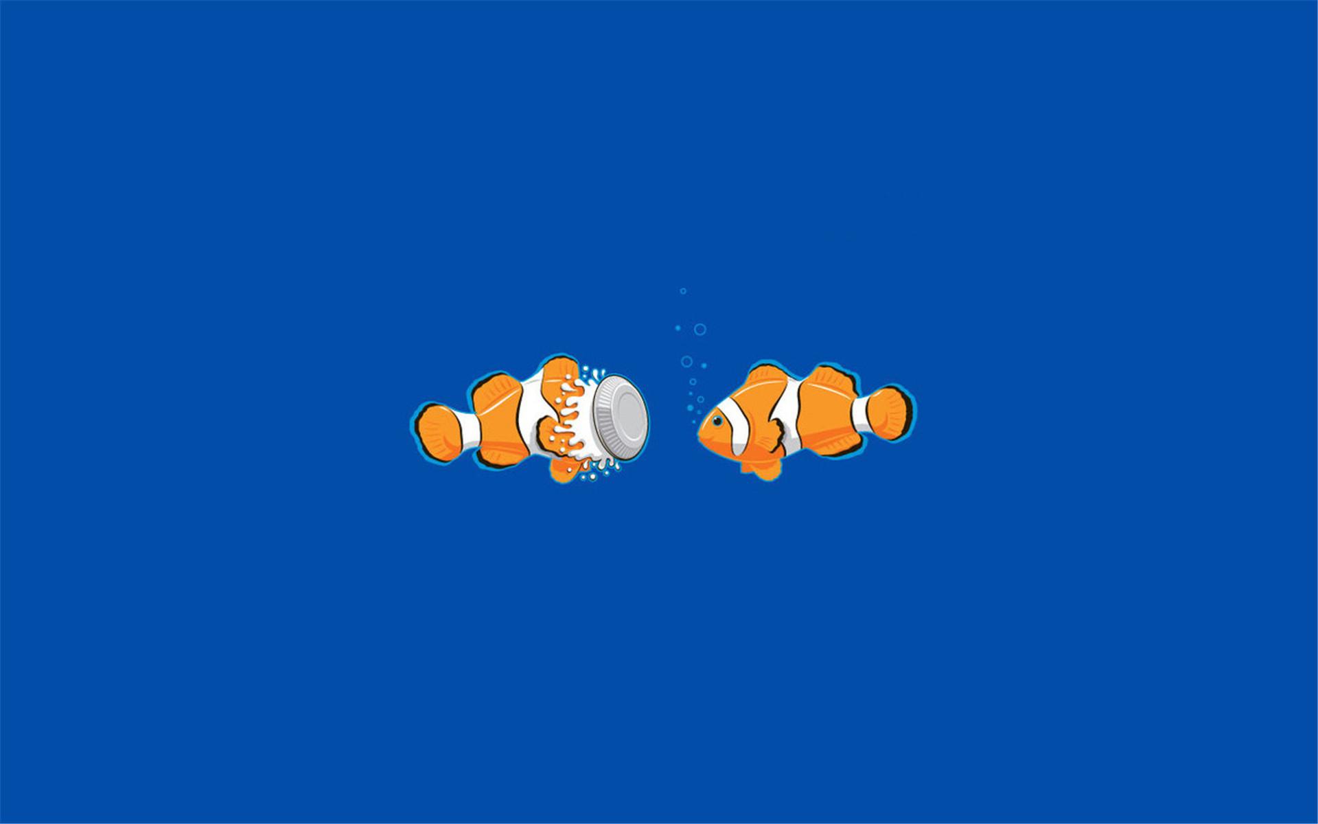 简单可爱的卡通图案个性鱼ppt背景图片下载