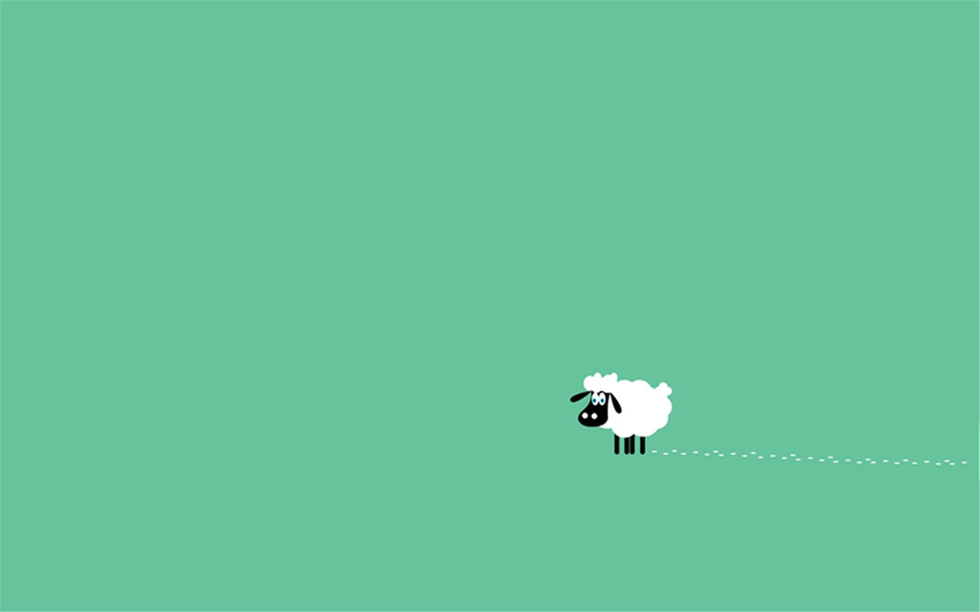 简单的卡通图案可爱绵羊ppt背景图片下载