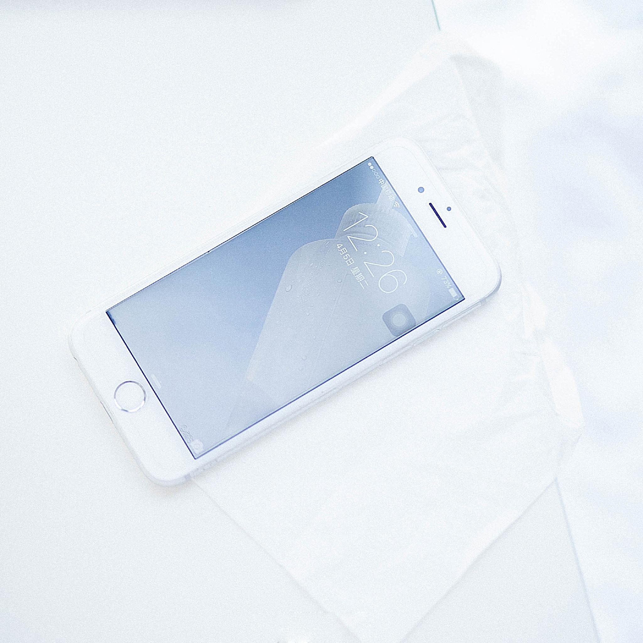 纯白色静物日系手机ppt背景图片下载