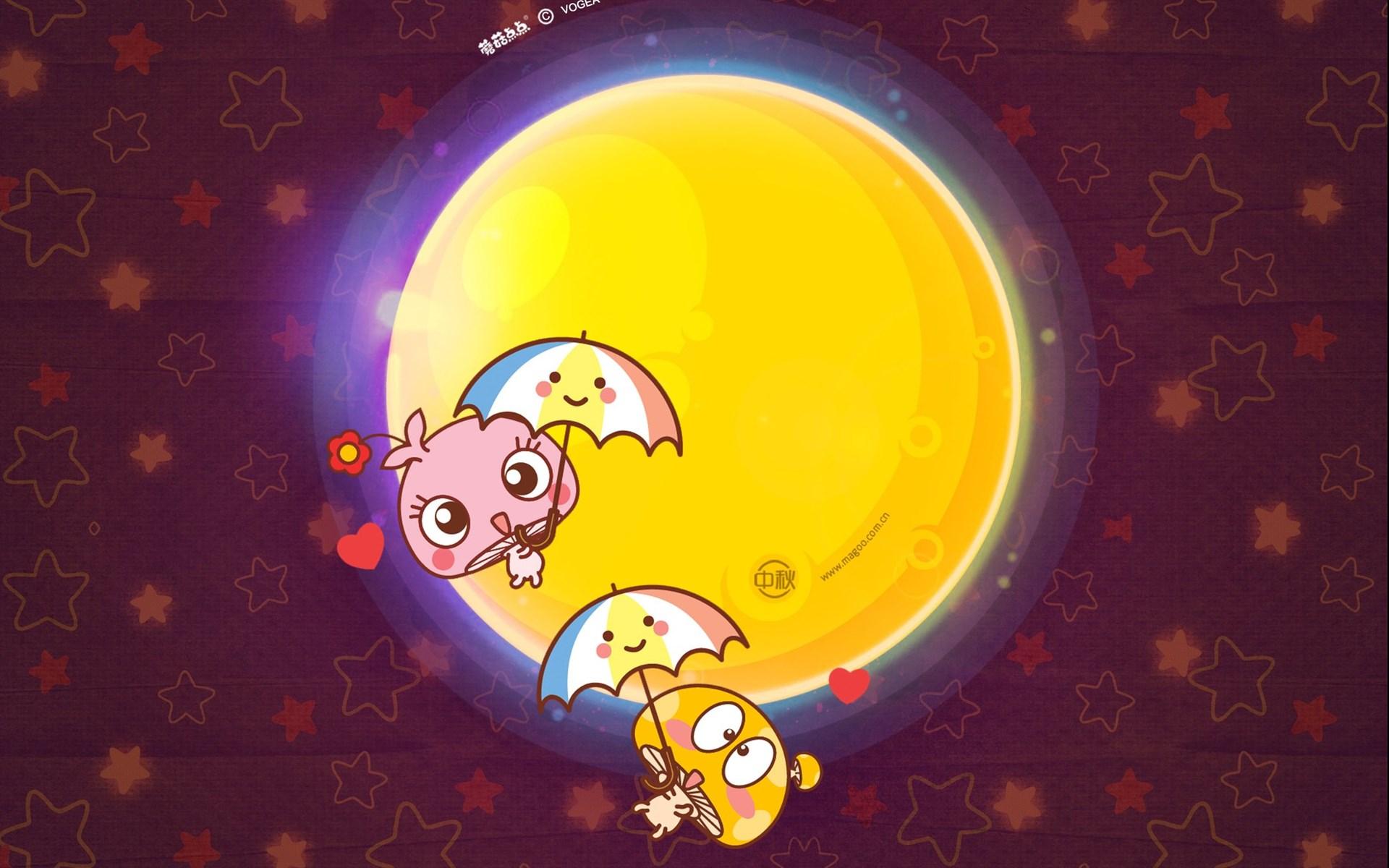 蘑菇点点中秋节主题卡通ppt背景图片下载