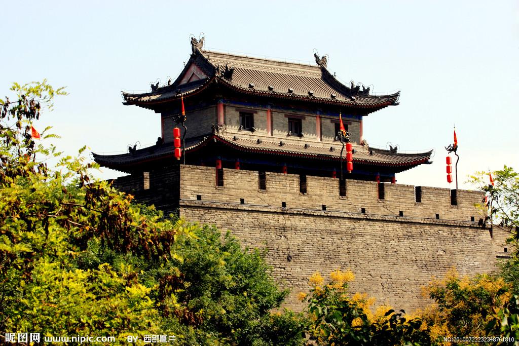西安古城墙ppt背景图片下载