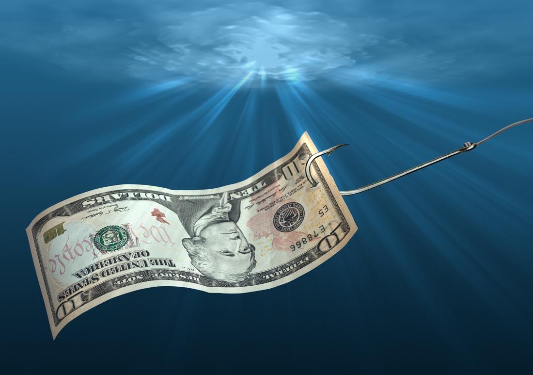 钓鱼和金钱钞票高清ppt背景图片下载_幻灯片模板免费