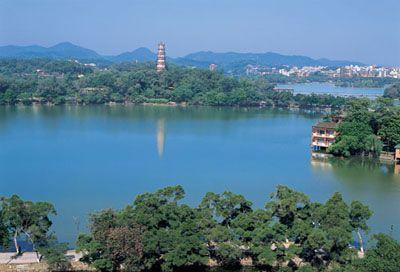 颖州西湖风景名胜区ppt背景图片下载